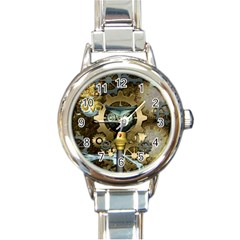 Steampunk, Awesome Owls With Clocks And Gears Round Italian Charm Watch by FantasyWorld7