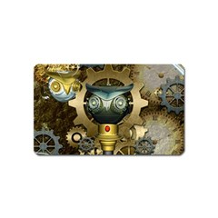 Steampunk, Awesome Owls With Clocks And Gears Magnet (Name Card) by FantasyWorld7