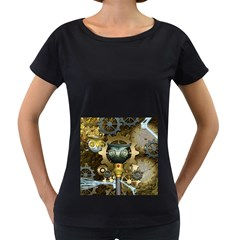 Steampunk, Awesome Owls With Clocks And Gears Women s Loose Fit T Shirt (black) by FantasyWorld7