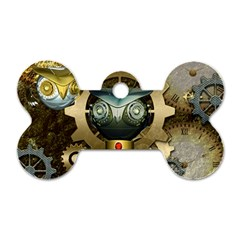 Steampunk, Awesome Owls With Clocks And Gears Dog Tag Bone (one Side) by FantasyWorld7
