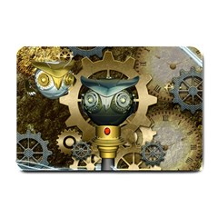 Steampunk, Awesome Owls With Clocks And Gears Small Doormat  by FantasyWorld7
