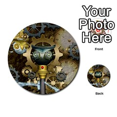 Steampunk, Awesome Owls With Clocks And Gears Multi Purpose Cards (round)