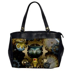 Steampunk, Awesome Owls With Clocks And Gears Office Handbags by FantasyWorld7