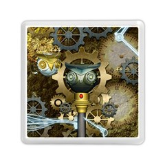 Steampunk, Awesome Owls With Clocks And Gears Memory Card Reader (Square)  by FantasyWorld7