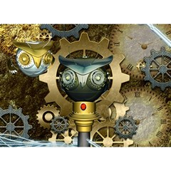 Steampunk, Awesome Owls With Clocks And Gears Birthday Cake 3d Greeting Card (7x5)