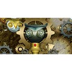 Steampunk, Awesome Owls With Clocks And Gears Congrats Graduate 3D Greeting Card (8x4) Back