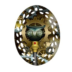 Steampunk, Awesome Owls With Clocks And Gears Oval Filigree Ornament (2 Side)  by FantasyWorld7