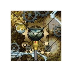 Steampunk, Awesome Owls With Clocks And Gears Acrylic Tangram Puzzle (4  x 4 ) by FantasyWorld7