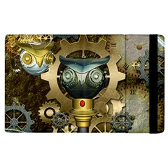 Steampunk, Awesome Owls With Clocks And Gears Apple Ipad 3/4 Flip Case by FantasyWorld7