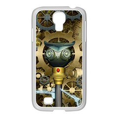 Steampunk, Awesome Owls With Clocks And Gears Samsung GALAXY S4 I9500/ I9505 Case (White) by FantasyWorld7