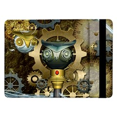 Steampunk, Awesome Owls With Clocks And Gears Samsung Galaxy Tab Pro 12.2  Flip Case by FantasyWorld7