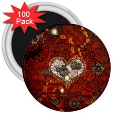 Steampunk, Wonderful Heart With Clocks And Gears On Red Background 3  Magnets (100 Pack) by FantasyWorld7