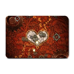 Steampunk, Wonderful Heart With Clocks And Gears On Red Background Small Doormat  by FantasyWorld7