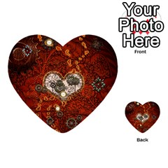 Steampunk, Wonderful Heart With Clocks And Gears On Red Background Multi Purpose Cards (heart)  by FantasyWorld7