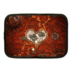 Steampunk, Wonderful Heart With Clocks And Gears On Red Background Netbook Case (medium)  by FantasyWorld7