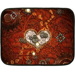 Steampunk, Wonderful Heart With Clocks And Gears On Red Background Fleece Blanket (mini) by FantasyWorld7