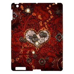 Steampunk, Wonderful Heart With Clocks And Gears On Red Background Apple Ipad 3/4 Hardshell Case by FantasyWorld7