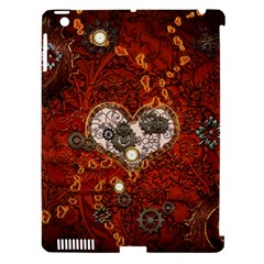 Steampunk, Wonderful Heart With Clocks And Gears On Red Background Apple Ipad 3/4 Hardshell Case (compatible With Smart Cover) by FantasyWorld7