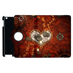 Steampunk, Wonderful Heart With Clocks And Gears On Red Background Apple Ipad 3/4 Flip 360 Case by FantasyWorld7