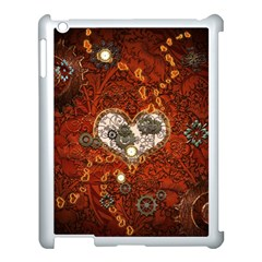 Steampunk, Wonderful Heart With Clocks And Gears On Red Background Apple Ipad 3/4 Case (white) by FantasyWorld7