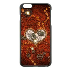 Steampunk, Wonderful Heart With Clocks And Gears On Red Background Apple Iphone 6 Plus/6s Plus Black Enamel Case by FantasyWorld7