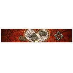 Steampunk, Wonderful Heart With Clocks And Gears On Red Background Flano Scarf (large) by FantasyWorld7