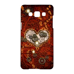 Steampunk, Wonderful Heart With Clocks And Gears On Red Background Samsung Galaxy A5 Hardshell Case  by FantasyWorld7