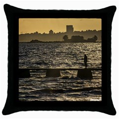River Plater River Scene At Montevideo Throw Pillow Case (black) by dflcprints