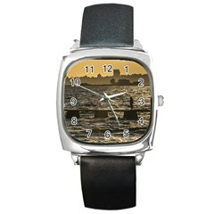 River Plater River Scene At Montevideo Square Metal Watch by dflcprints