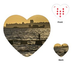 River Plater River Scene At Montevideo Playing Cards (heart)  by dflcprints