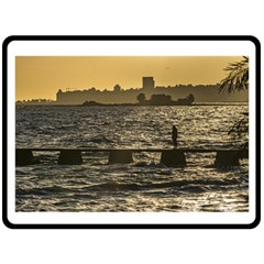 River Plater River Scene At Montevideo Double Sided Fleece Blanket (large)  by dflcprints