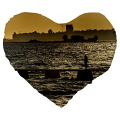 River Plater River Scene At Montevideo Large 19  Premium Flano Heart Shape Cushions by dflcprints