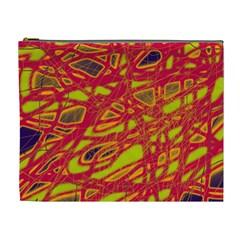 Orange Neon Cosmetic Bag (xl) by Valentinaart