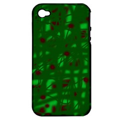 Green  Apple Iphone 4/4s Hardshell Case (pc+silicone) by Valentinaart