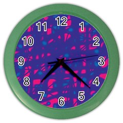 Blue And Pink Neon Color Wall Clocks by Valentinaart
