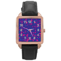 Blue And Pink Neon Rose Gold Leather Watch  by Valentinaart