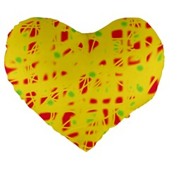 Yellow And Red Large 19  Premium Heart Shape Cushions by Valentinaart