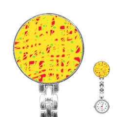 Yellow And Red Stainless Steel Nurses Watch by Valentinaart
