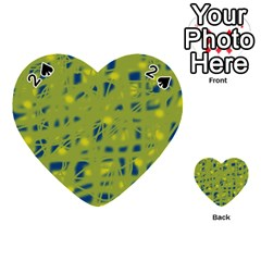 Green And Blue Playing Cards 54 (heart)  by Valentinaart