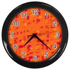Orange Wall Clocks (black) by Valentinaart