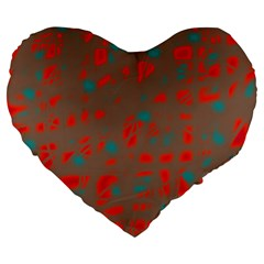 Red And Brown Large 19  Premium Heart Shape Cushions by Valentinaart
