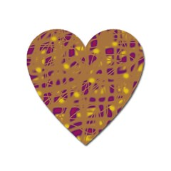 Brown And Purple Heart Magnet by Valentinaart