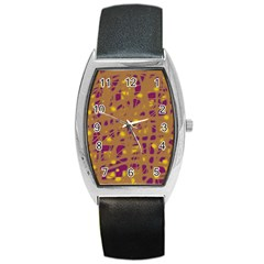 Brown And Purple Barrel Style Metal Watch by Valentinaart