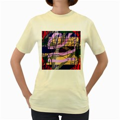 Abstract High Art By Moma Women s Yellow T Shirt by Valentinaart