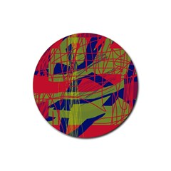 High Art By Moma Rubber Round Coaster (4 Pack)  by Valentinaart