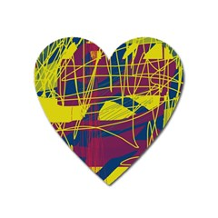 Yellow High Art Abstraction Heart Magnet by Valentinaart