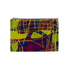 Yellow High Art Abstraction Cosmetic Bag (medium)  by Valentinaart