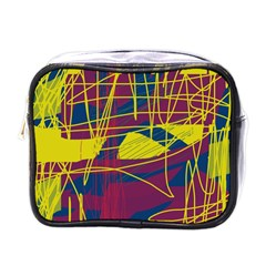 Yellow High Art Abstraction Mini Toiletries Bags by Valentinaart
