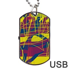 Yellow High Art Abstraction Dog Tag Usb Flash (two Sides)  by Valentinaart