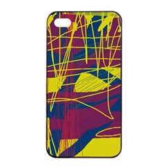 Yellow High Art Abstraction Apple Iphone 4/4s Seamless Case (black) by Valentinaart